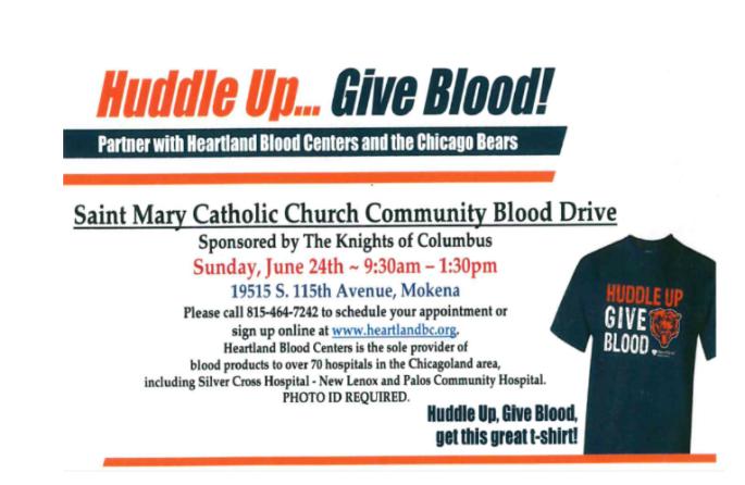 Saint Mary Mokena Blood Drive