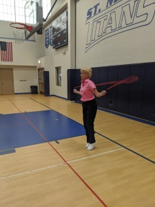 Mrs. Lindley jumping rope