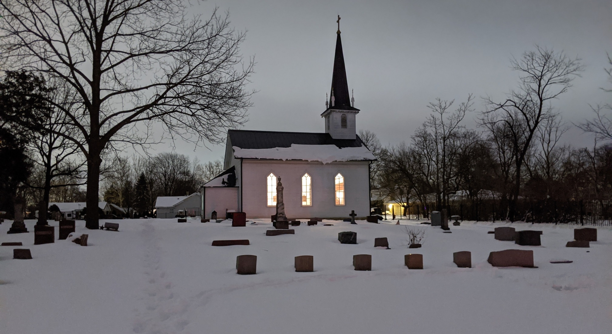 Old St. Mary Mokena in Winter