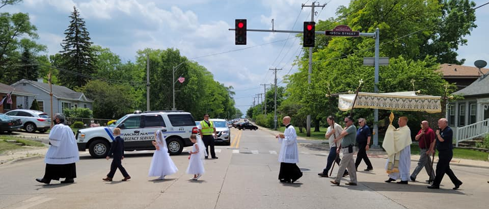 Corpus Christi Procession Crossing Wolf Road